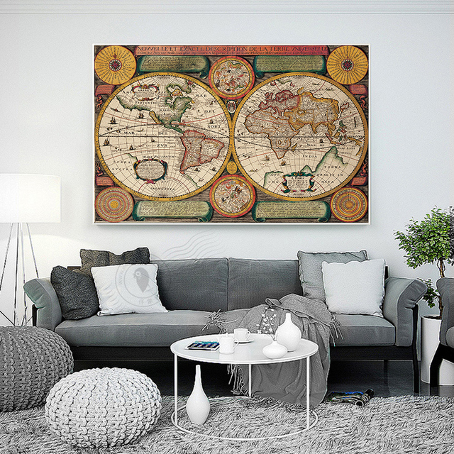 Classic world map english for retro poster decorative painting classic world map english for retro poster decorative painting vintage canvas map canvas painting art wall gumiabroncs Choice Image