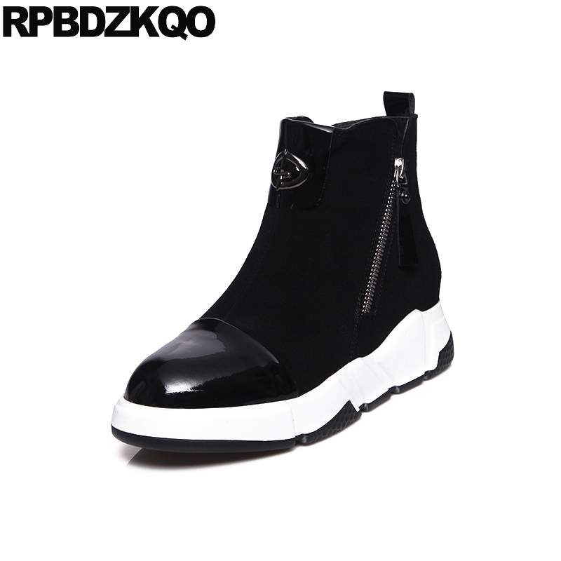 Side Zip Boots Round Toe Suede Black Patent Leather Booties Winter Trend Ankle Platform Fall Luxury Metal Shoes Height Increased black round toe side zippers heavy bottomed increased inner 12 cm slope heels naked boots discount women fashion wedges booties