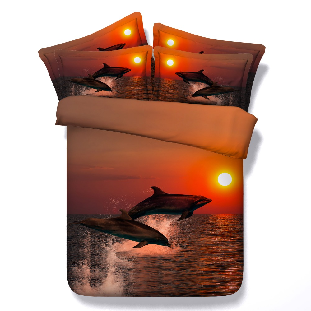 3D printed animal jumping dolphins bedding sets pillow shams bed set home textiles queen king bedspreads for children teens kids