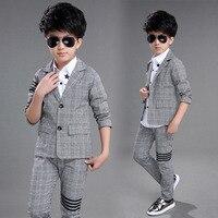Kids Clothes 2019 new Spring Autumn Long Sleeve children Set cotton lattice coat+ pants 3 12 years baby boy clothes