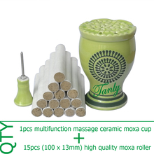 Wholesale & retail new type multifunction ceramic massage beauty SPA relief moxa device +15pcs high quality moxibustion stick