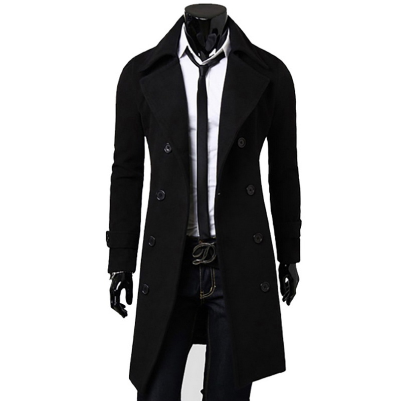 Puimentiua 2018 3XL Mens   Trench   Coat Fashion Men Autumn Long Coat Winter Double-breasted Windproof Slim   Trench   Coat Jackets