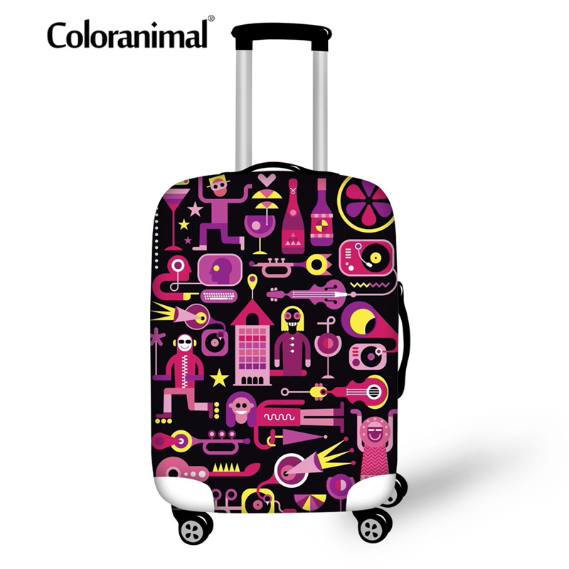 Coloranimal Suitcase Covers Travel Luggage Protective Cover Zipper 3D Cartoon Music Print Accessory Baggage Cover For18-30 Inch