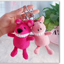 Smiling fangs monkey plush doll keychain female creative cute animal keyring mix color car key chain ring bag pendant