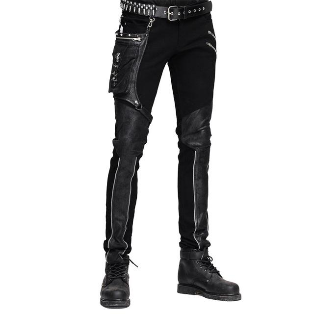 Novo Estilo Punk Britânico Com Bolso Splice Calças Casuais Maré Gótico dos homens Cultivar a moralidade de Algodão Rua Masculina calças