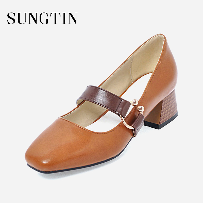 Sungtin Classic Mary Janes Chunky Heels Women Mid Heel Square Toe PU Leather Shoes Office Lady Casual Buckle Strap Pumps Spring new spring fashion brand genuine leather sweet classic high heels women pumps shallow thick heel mary janes lady causal shoes