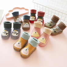 Autumn Winter Terry Thickening Cartoon Baby Shoes Socks Anti-skid Toddler 0-1-3 Years Old Children In The Tube Floor