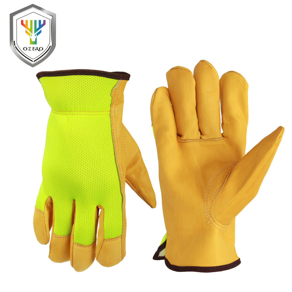 Leather work gloves for welding - Ozero Garden Gloves Welding Leather Work Gloves Cowhide Fluorescent Cloth Cut Resistant Motorcycle Protection Gloves For