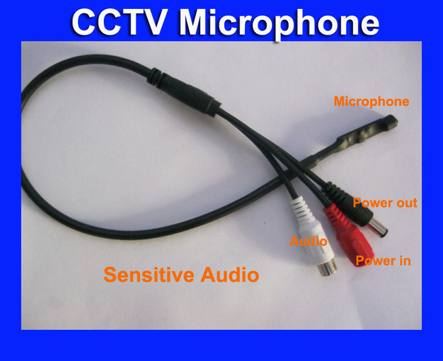 CCTV Mic Microphone Cable for CCTV Camera Audio Surveillance , CCTV Audio Cable, Audio Receiver for Security Cameras
