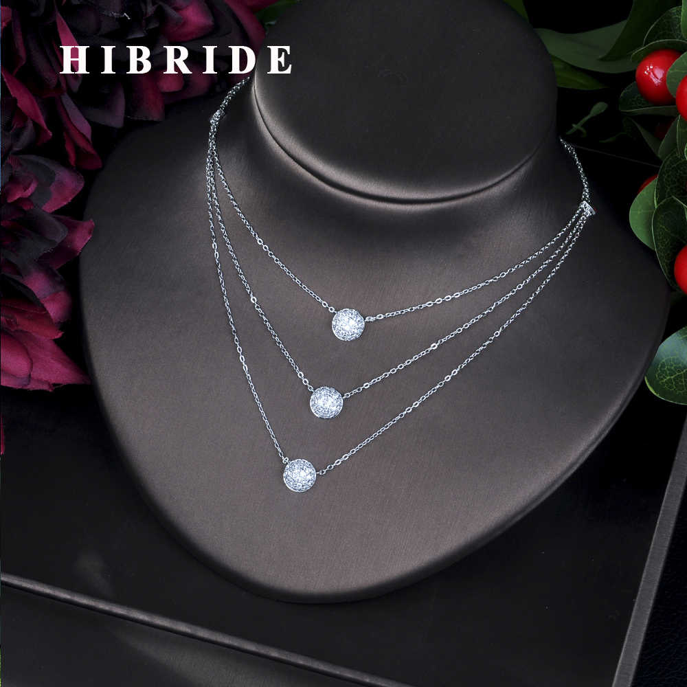 Hibride Rose Gold Luxury Big Marquise Shining CZ Zirconia Flower Pendant & Necklaces for Women Bridal Wedding Jewelry P02