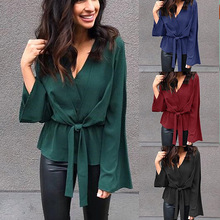 Black office lady elegant blouse shirt Spring sexy women tops and blouses crop top Casual Blouse Feminino chiffon