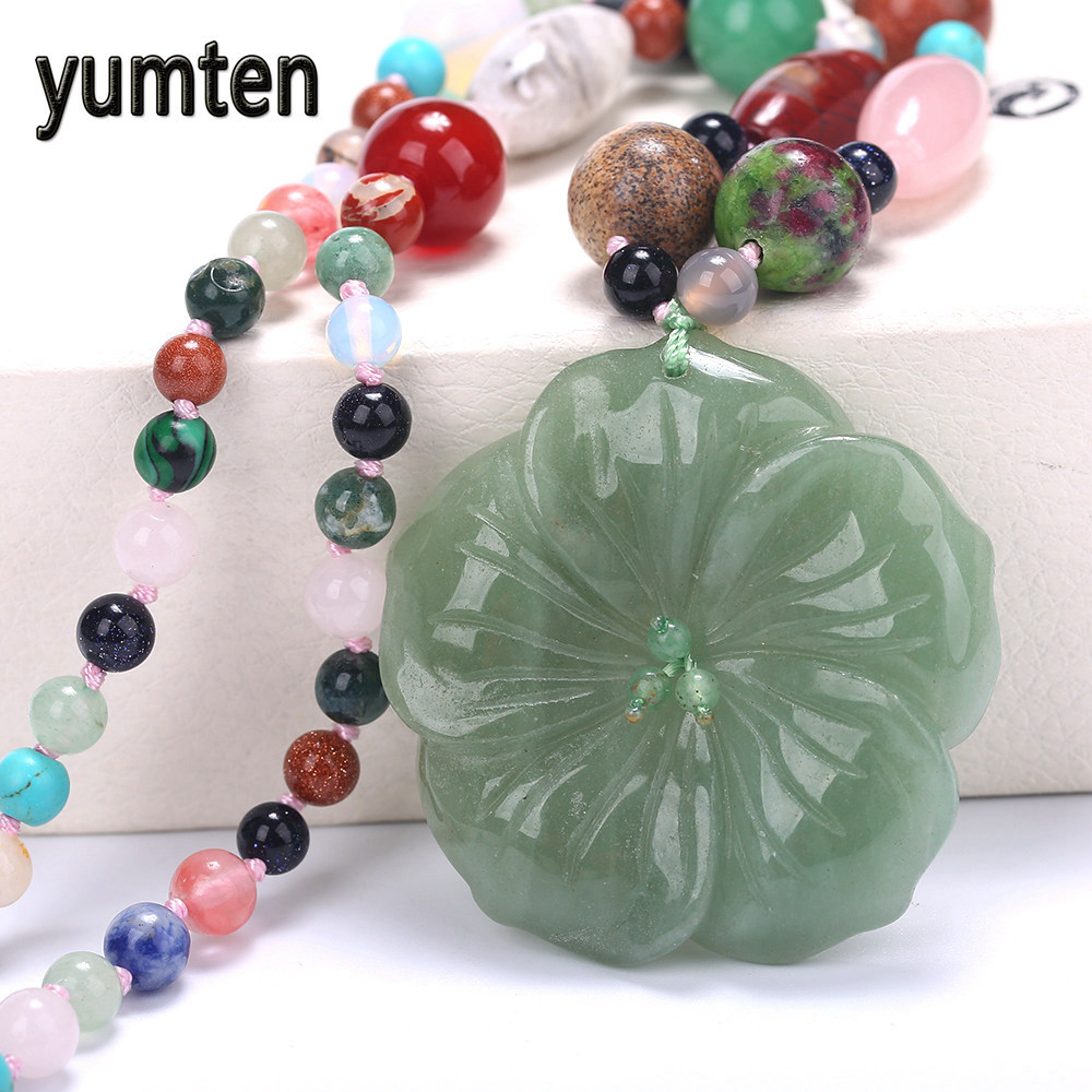 Yumten Flowers Pendant Beautiful Women Necklace Colorful Crystal Charm Trend Style Jewelry Couple Gift Popular Clavicle Chain