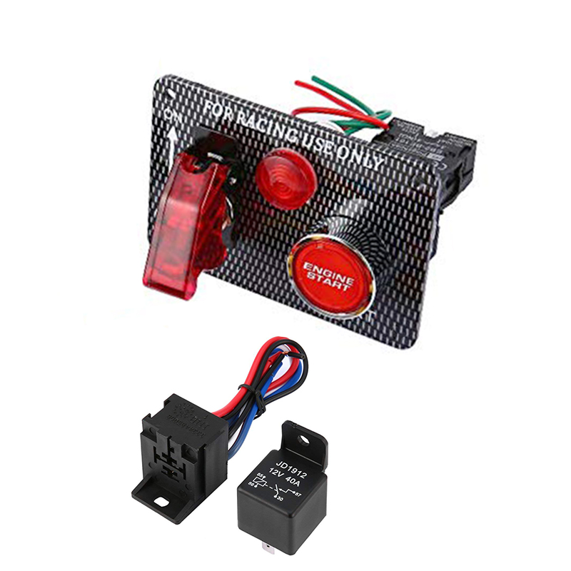 12V 20A 240W Car Ignition Switch Push Button Panel Blue LED Indicator Light