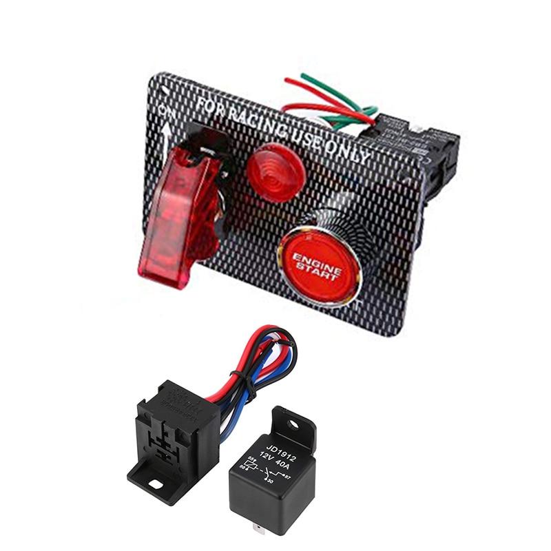 12V Red illuminated LED Car Chrome Trim Engine Start Starter Push Button Switch