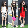 New Summer girls clothing sets Casual personality long tassels T-shirts+shorts 2pcs suit hot 2016 fashion kids clothing 3 colors