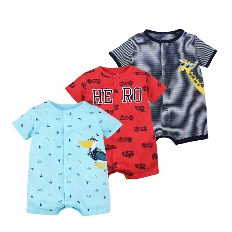 Hot Sale! 2018 Summer Baby Boy Clothes Infantil Rompers Short Sleeves Jumpsuit Cotton Baby Body Character Dinosaurs For Baby Boy summer baby boy rompers 100