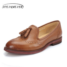 Sheepskin leather flat shoes women US size 8 handmade brown 2017 sping vintage Square Toe British style oxford for