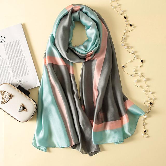 luxury soft silk foulard beach cover ups wraps scarves shawls