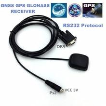Бесплатная доставка, 9600 скорость передачи Промышленные DB9 RS232 протокол, PS2 5 В питания RS-232 GNSS GPS глонасс Модуль приемника NMEA0183