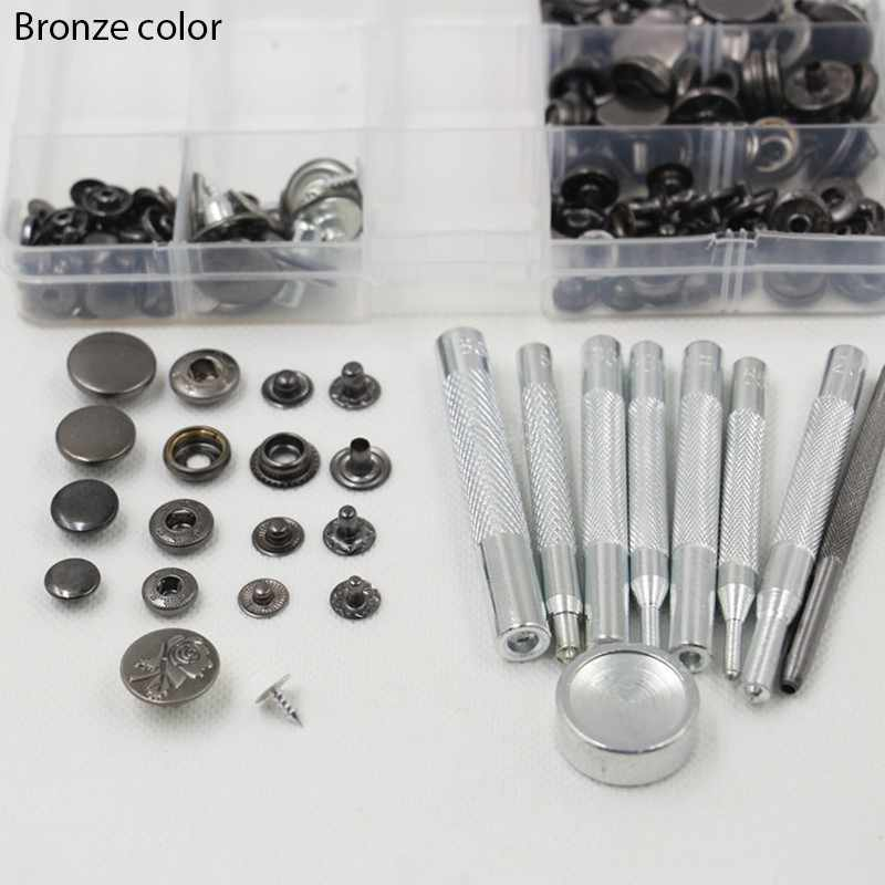 50sets metal snap button + all sets setting tool set leather craft sewing hardware accessories 3 color 633 655 831 201 H