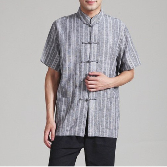 Gray New Traditional Chinese Men's Linen Kung Fu Shirt Top Short-sleeve Tang Suit Size S M L XL XXL XXXL 2340-4