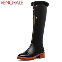 VENCHALE Winter Knee High Boots Woman Mid Heel Round Toe Ladies Warm Shoes Real Fur Genuine