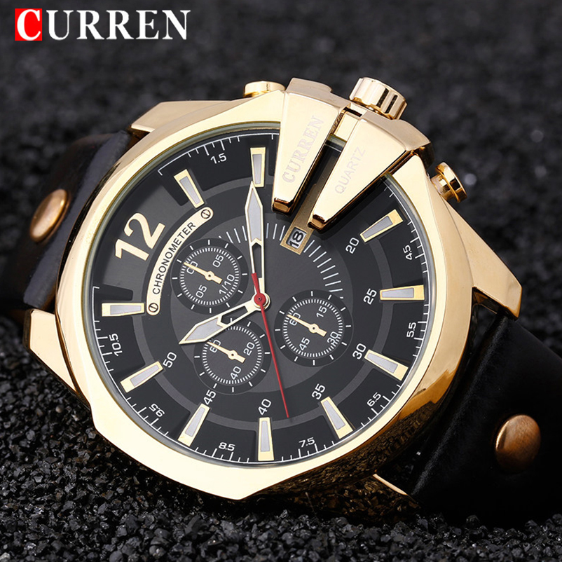 CURREN Dropship 8176 Luxury Brand Relogio Masculino Leather Casual Watch Men Sport Watches Quartz Military Wrist Watch Clock sunward relogio masculino saat clock women men retro design leather band analog alloy quartz wrist watches horloge2017