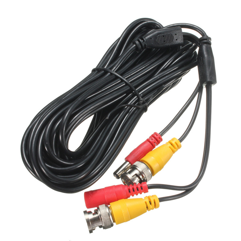 NEW 15m Security Video BNC DC Extension Lead Power Cable for CCTV Camera DVR System Black CCTV Video Camera Power Cable