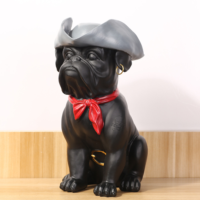 American Country Home Furnishing Articles Resin Home Decoration Mastiff Dog Black Resin Furnishing Articles