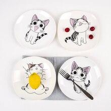 Niedlichen Cartoon Cat Kreative Küche Geschirr Weiße Keramikplatten Steak Westlichen stil Reissuppe Bone China Geschirr Tablett