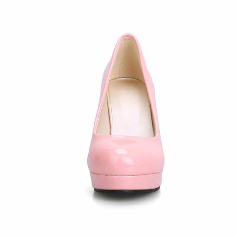 Frauen Plattform Pumpen Mode Patent Leder Platz High Heels Slip Auf Party Kleid Schuhe Frühling Herbst Schuhe Damen Größe 34 -43