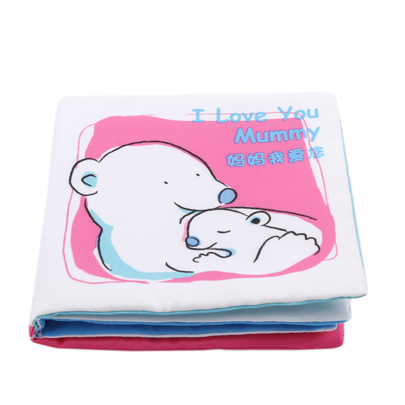Hot Sale Baby Crinkle Soft Fun Cloth Books Children Baby Cute Intelligence Educational <font><b>Toys</b></font> I Love <font><b>Papa</b></font> <font><b>Mama</b></font> Brother Dog image