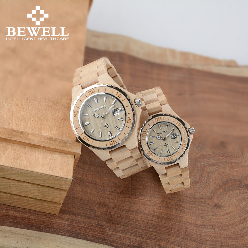 BEWELL Luxury Couple Watch For Lover As Gift To Sweetheart Friends Wooden Lovers Waterproof Watch With Calendar Luminous 100BC