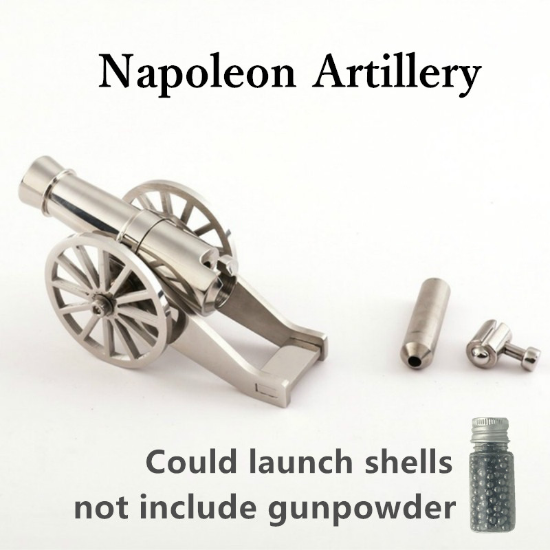 Mini Napoleon Cannon Metal Naval Artillery Stainless Model Kits Collection Desktop Cannon Civil War Cannon Model