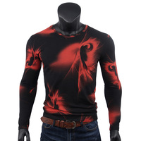 Spring Autumn Men S Printed Pattern Digital Long Sleeves T Shirt Male Casual O Neck Cotton