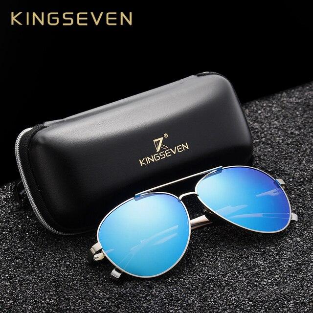 2e734a185d5b5b KINGSEVEN Hommes Aluminium lunettes de Soleil Polarisées Classique Marque  De Soleil EMI Défense Revêtement Lentille Conduite