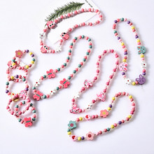Kawaii Cartoon Wood Jewelry Beads Necklace Little Girl Baby Kids Princess Animals Necklace For Party Dress Up Birthday Gifts(China)
