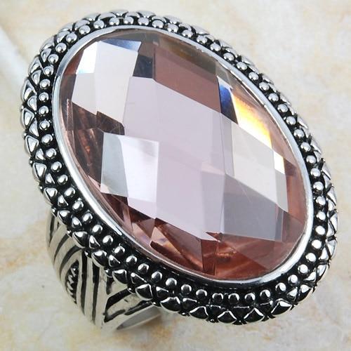 Huge Morganite Women 925 Sterling Silver Ring F801 Size 6 7 8 9 10 цена