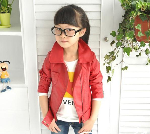 Cool Girls Leather Jackets New 2015 Long Sleeve Children's ...