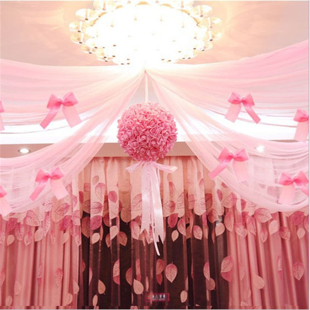 Wedding Decoration Tulle Flower Ball Centerpieces Rose Pompom ...