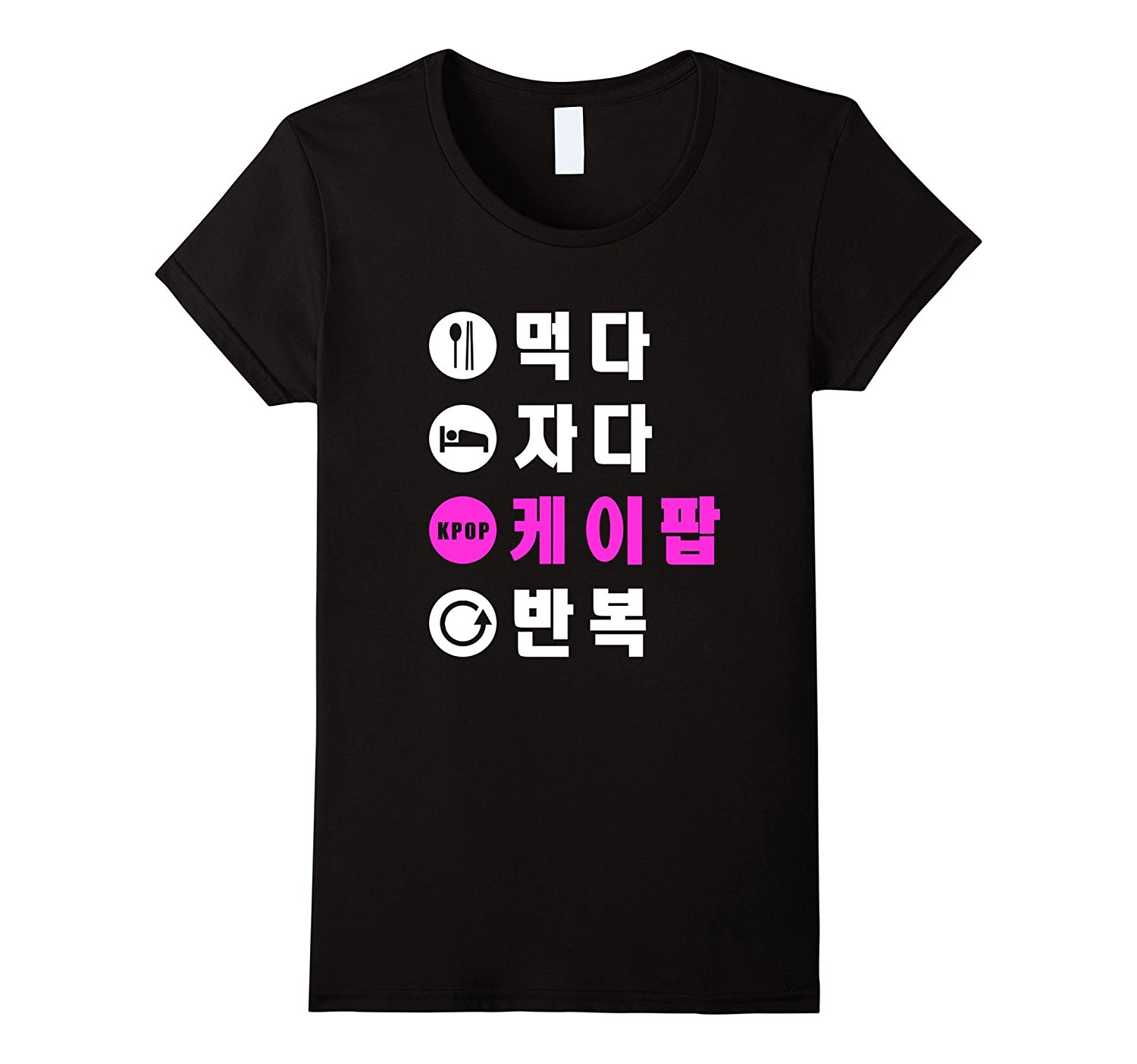 Eat Sleep K-Pop Repeat Shirt Hangul Korean T-Shirt Short Sleeve Women T Shirt Women T-Shirt 2018 Summer Cotton Top Tee