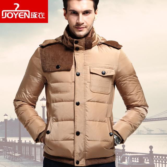 2016 Primavera Homens Inverno Para Baixo Casaco Fashion Para Baixo Jaquetas Cáqui Preto Plus Size M-3XL Grosso Quente Casacos e Para Baixo