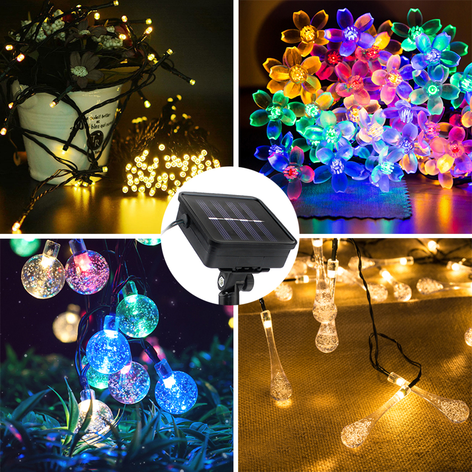 100 200 LEDs Solar String Fairy Lights Outdoor Party Xmas Tree Waterproof Lights