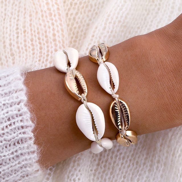 IPARAM Bohemia Vintage Shell Rope Chain Bracelet Women Beach Sea Shell Bracelet Anklet Jewelry Party Gift Wholesale
