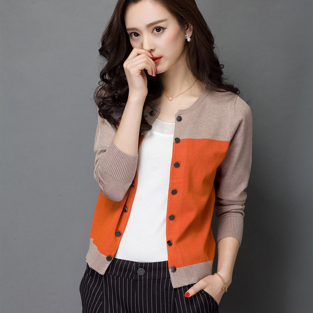 027c6a8d6c 2015 Hot Sale Brand knit Cardigans Sweaters Women Autumn Winter Wool Hit  Color Long Sleeve office Work Ladies Cardigan Sweater