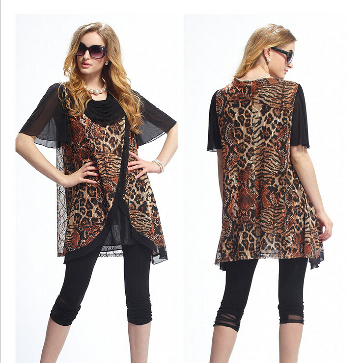 30c8790a7e Leopard Animal Print Summer Style Swing Dresses Women Plus size Vestidos  smock dress 3XL Clothing Quality Dresses-in Dresses from Women s Clothing  ...