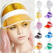 Unisex Empty Top Hats Summer Visor Cap Beach Clear Plastic Adult Sunscreen Visors Women Men Outdoor Sports Anti UV