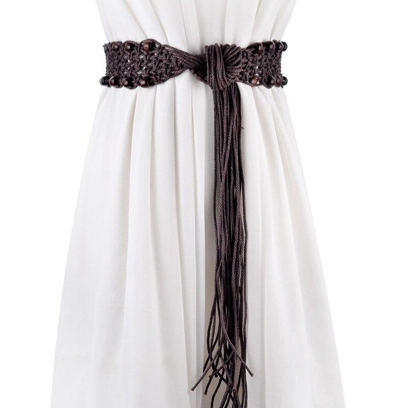 belts   for women knitted wide waistline high quality Wax rope Wooden bead Bohemian dress women   belt   ceinture femme