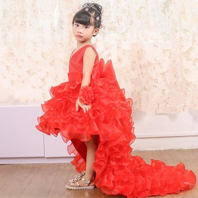 eb7787501d5 3-10T flower girl Trailing wedding dresses Girl high quality Tutu Mermaid  dress V-neck big bow Princess long dress