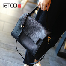 AETOO New elephant cowhide Vintage female bag, simple leather handbag, casual commuter shoulder oblique cross bag aetoo women s genuine leather bag new handmade retro style simple diagonal cross bag handbag 3d embossed vintage shoulder bag
